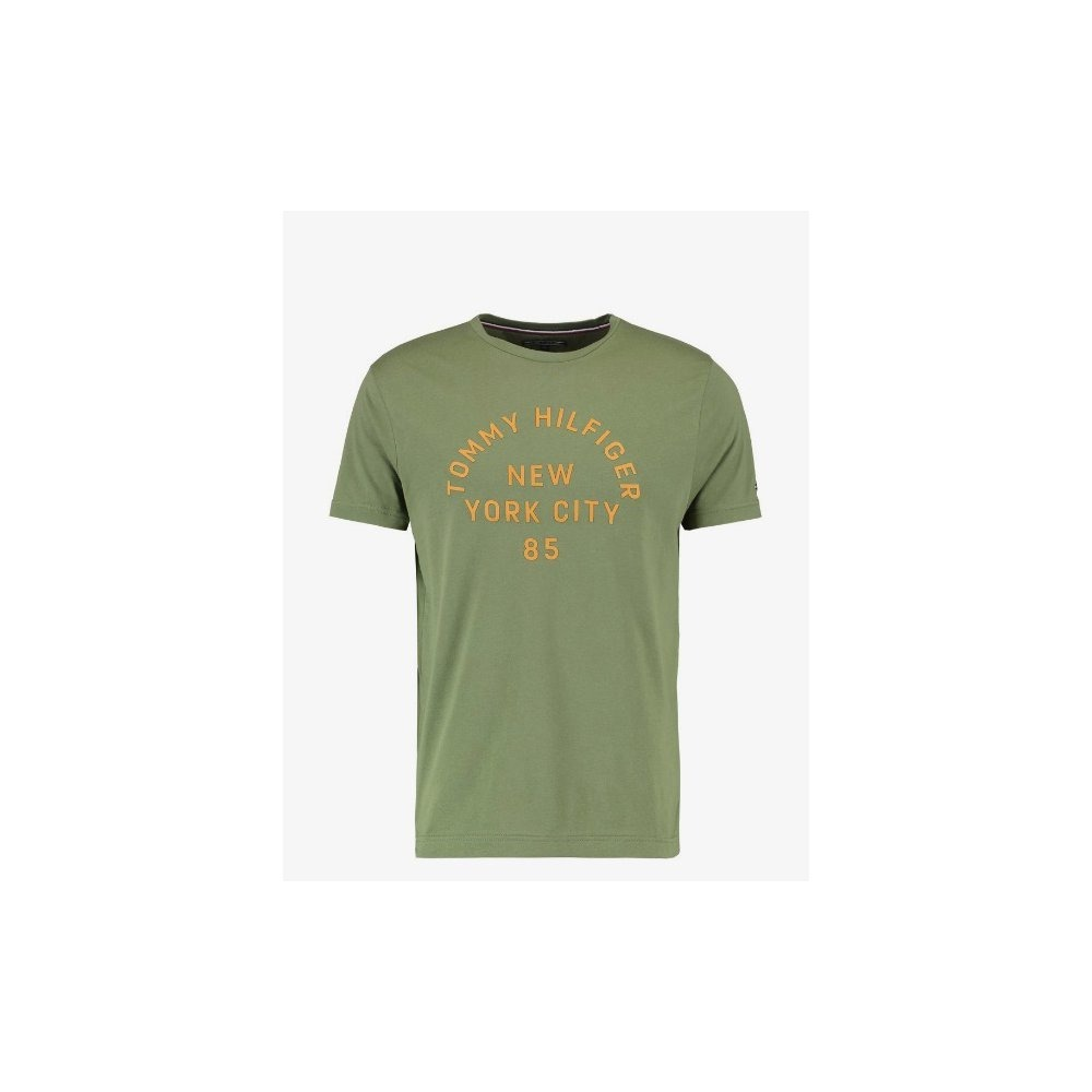 e0d6c005088 camiseta tommy hilfiger multi layered logo verde musgo. Carregando zoom.