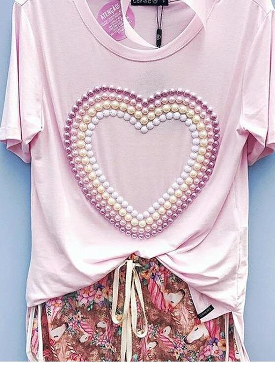 ad546d6b98 Camiseta Tshirt Feminina Bordada Personalizada - R  69