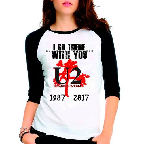 camiseta u2 joshua tree tour raglan babylook 3/4