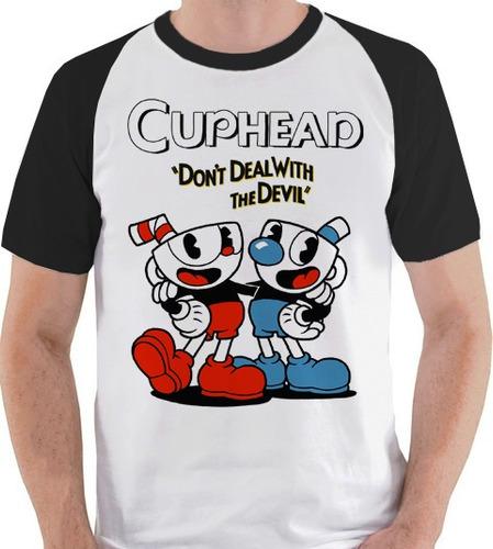 camiseta unissex cuphead jogo logo game blusa raglan