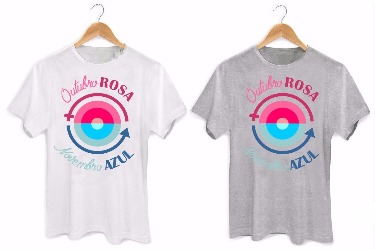 Camiseta Unissex Outubro Rosa Novembro Azul Swag R$ 34,99 em Mercado Livre -> Decoração Para Outubro Rosa E Novembro Azul