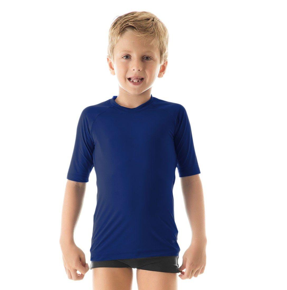 Camiseta Uv Pro Mc Infantil Proteção Solar Uv Line Marinho - R  85 ... 5e3b9092264