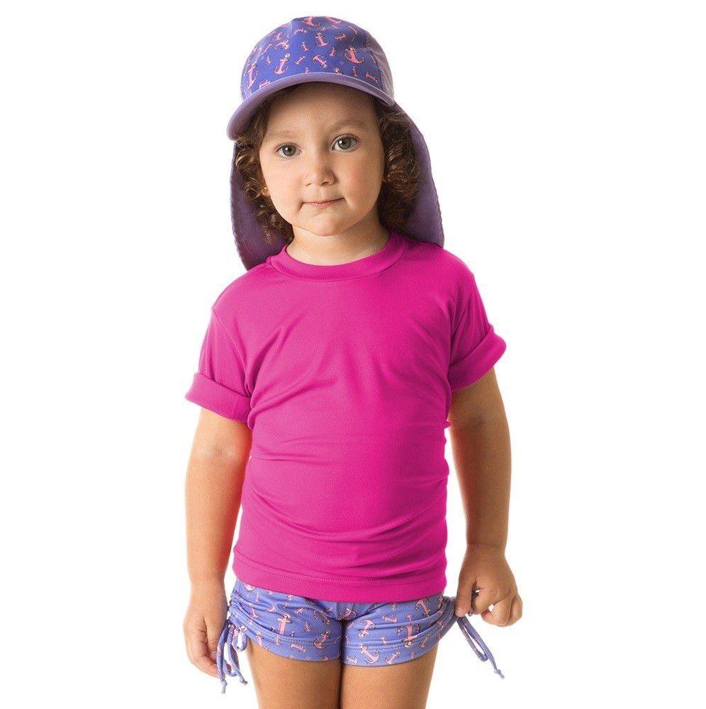 3d75a76e9b Camiseta Uv Pro Mc Infantil Proteção Solar Uv Line Pink - R  85