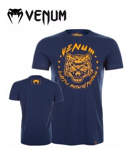 camiseta venum natural fighter tiger azul laranja