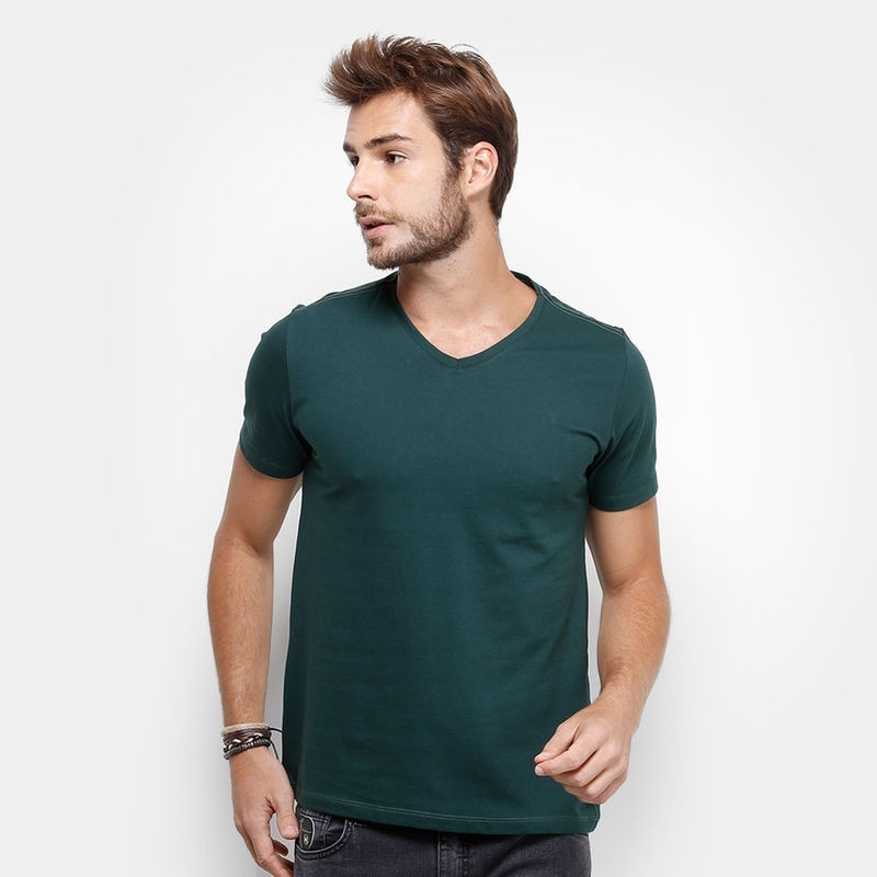 f7d7fe8b67 camiseta verde escuro gola v masculina algodão lisa uniforme. Carregando  zoom.