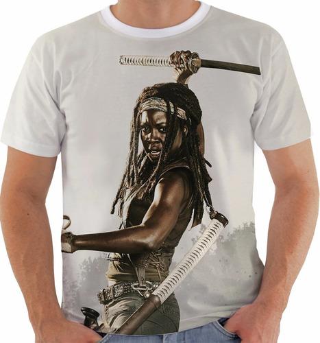 camiseta walking dead - michonne - zombies - series