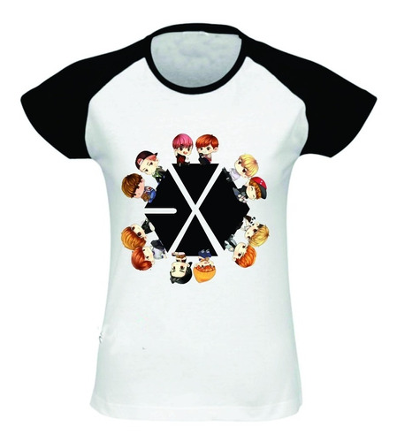 camiseta/babylook exo raglan integrantes desenho kpop