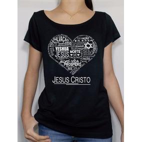 afb0c70c6 Camiseta Feminina Preta Coração Jesus Cristo Religiosa