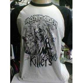 a14b12937 Camiseta Raglan Iron Maiden Cinza Claro   Preta