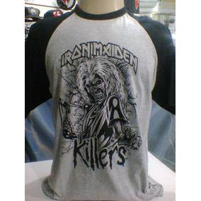 cfa25ca79 Camiseta Raglan Iron Maiden Killers Mesclada Cinza   Preto