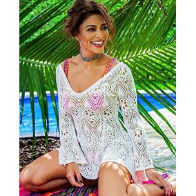 422c862c6 Saida Praia Blusa Tricot Vazado Manga Flare Mini Vest Mullet