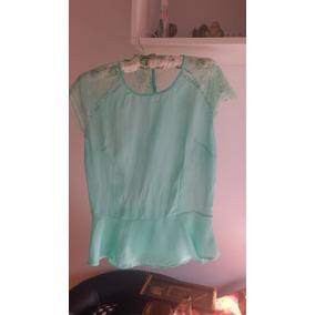2168ed85b5 Blusa Usada Voal Com Renda Verde Agua Tiffany Moda Social