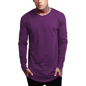 34f2dee75728c Camiseta Oversized Swag Longline Camisa Blusa Slim Fit Roxa