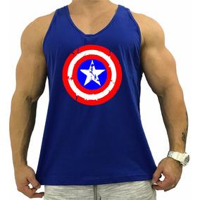 af84c873f7360 Regata Masculina Cavada Azul Capitão America Capitain Heroi