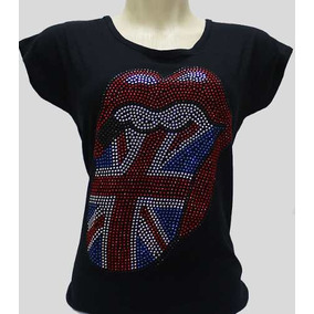 f18004732 Camiseta Babylook Rolling Stones Banda Rock Feminino Strass