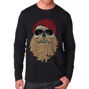 33ca3612c Manga Longa Swag Caveira Barbudo Casaco Camisa Camiseta Thug