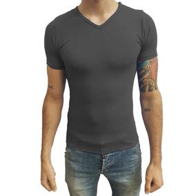 915f702c8 Camisa Masculina Slim Gola V Viés Viscose Com Elastano Casua