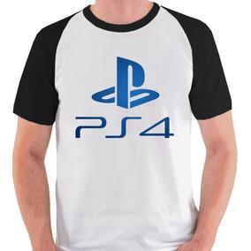 bc04fd8ce Camiseta Playstation Ps4 Logo Game Jogo Camisa Blusa Raglan. 2 cores. R  39  96