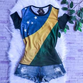 8a4074834 Camisa Feminina Blusa Brasil Copa Femininas Blusas Cetim - Camisetas ...