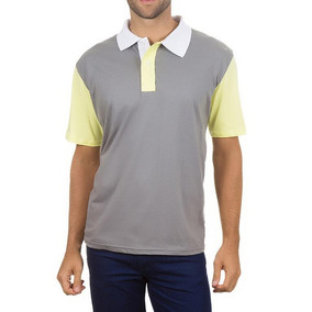 8c3aeb1c4 Camisa Polo Colombo Masculina Cinza Com Mangas Amarelas 3262