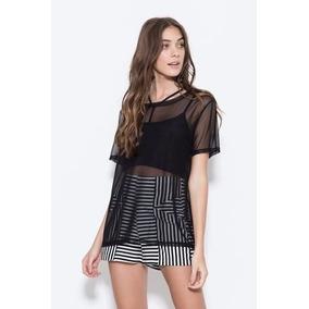 3604f12b34 Blusa Com Tule Transparente Blusas Feminino Manga Curta - Camisetas ...