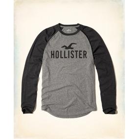 2e9b83234 Camiseta Masculina Hollister Manga Longa Laranja - Calçados