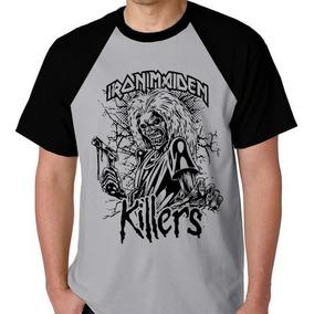 7c83ffa43 Camiseta Raglan Camisa Blusa Banda Iron Maiden Rock Heavy