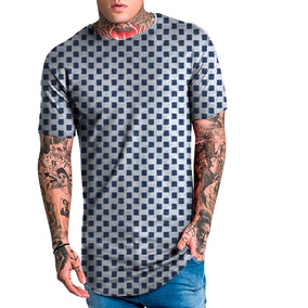 9dcc61c06120c Camiseta Camisa Masculina Long Line Xadrez Fashion Top Swag
