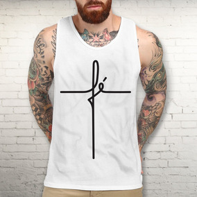 b291809c20737 Camiseta Fé Regata Masculina Religiosa Moda Terço