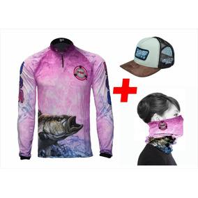 88f29a32e204d Camiseta De Pesca + Bandana + Boné Kit Pqs - Ref 13 05
