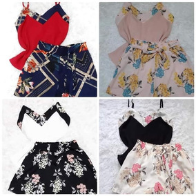 bac018b4eee67 Conjunto Feminino Regata + Shorts Envelope Estampado Coleção