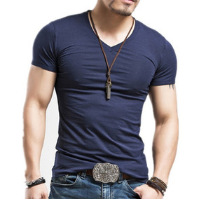 9fda696c4 Kit Com 6 Camisetas Camisa Blusa Masculina Gola V Slim Fit