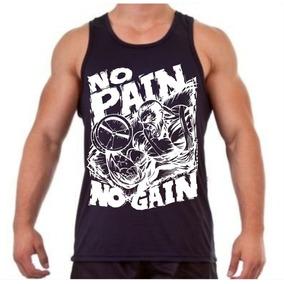 a3818396ddcbf Camiseta Regata No Pain No Gain Treino Musculação Fitness