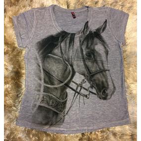 72ae6ac4aeb56 Camiseta Feminina Blusa Roupa Country Cavalos Flores Linda