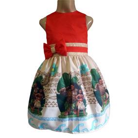 c36f4b224 Vestido Moana Roupa Infantil Lindo Para Festa Tam 01 Ao 06.