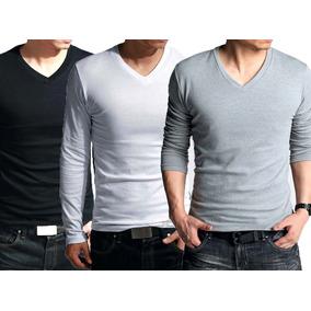 f15d472e4 Kit 3 Blusas Masculina Manga Longa Gola V Slim Fit Camisetas