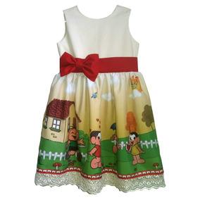 653623704 Vestido Turma Da Monica Festa Infantil Tam. 08 Ao 14.