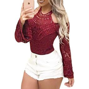 225460e40 Body Renda Maga Flare - Camisetas e Blusas Body para Feminino no ...