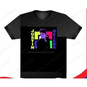60b6aa864 Camiseta Led Eletronica Pisca Sensivel Ao Som Justin Bieber