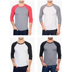 6239b12a46639 Camiseta Raglan 3 4 Lisa 100 % Algodão Kit 04 Peças Atacado