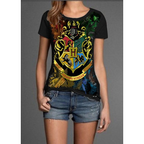 01e089730 Camiseta Feminina Do Harry Potter Do Brasão De Hogwarts - Camisetas ...