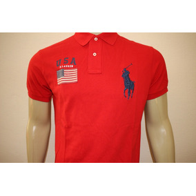 aba22010480d8 Camiseta Masculina Gola Polo Customfit Big Pony Bandeira Usa