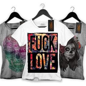 8b19d0dc70cdd Kit 4 Blusa Camiseta Feminina Skull Caveira Floral Cor Linda