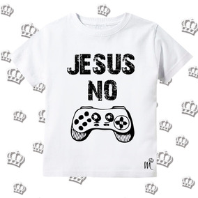 fbb2d5c60 Camiseta Infantil Jesus No Controle Gospel Evangélica