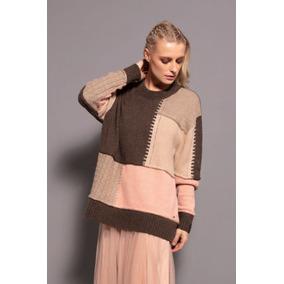 903db891b Blusa Ampla Biamar Malha Tricot Lã Preto Com Cinza E Rosa