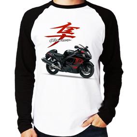 e20f87ed74 Camiseta Raglan Moto Suzuki Gsx 1300 Hayabusa Preta 2012 Lon