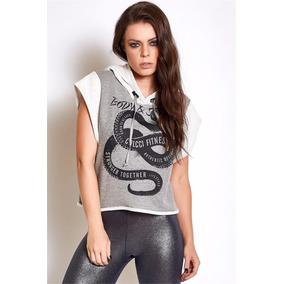 1e6ec7e2e Blusa Cropped Feminina Fitness Capuz Marca Colcci Original