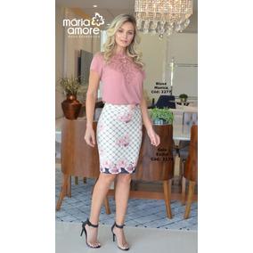 af6176411 Blusa Com Aplique Monica Maria Amore Moda Evangélica