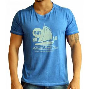 8279754eadd31 Camiseta Basic Pigmento Barco - Azul (gola Corte A Fio)
