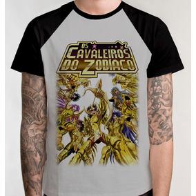 0d439fd0d Camiseta Raglan Anime Camisa Blusa Unissex Cavaleiros Zodiac